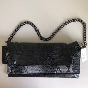 Brand-New Gray Python-Printed Mini Bag